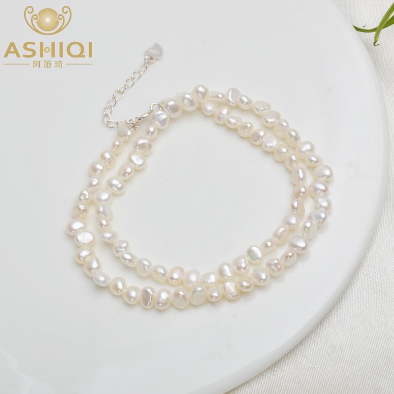 ASHIQI Choker Necklace Clasp Pearl Jewelry 925-Silver Natural Baroque 4-5mm Women