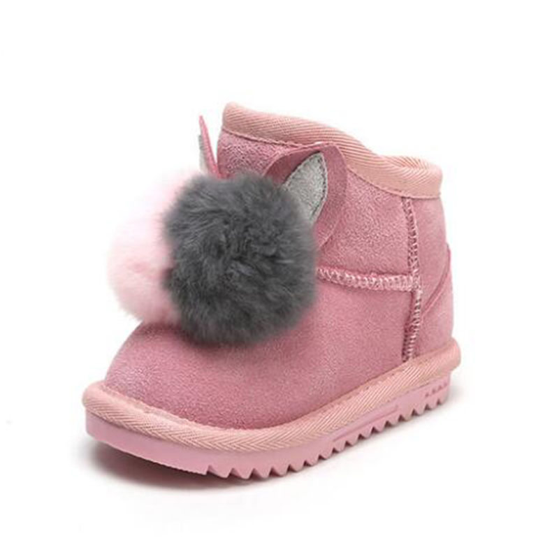 Genuine Leather Baby Snow Boots Girls Plus Velvet Thick Winter Boots Rex Rabbit Fur Ball Decoration Children Boots