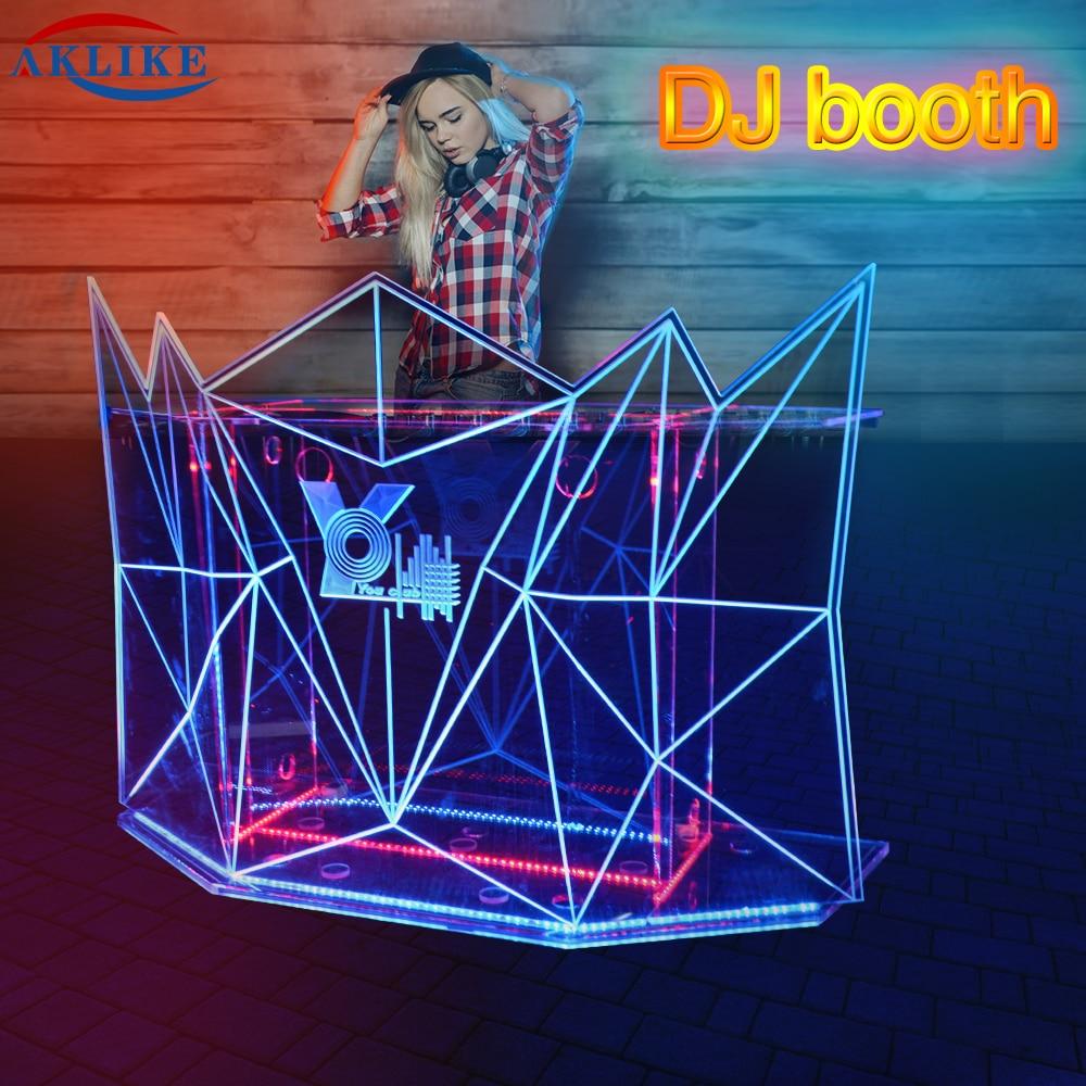 DJ Booth AKLIKE Fashionable Led Illuminated DJ Lights Table For Night Club Acrylic Dj Bar Table Colorful Movable Dj Display