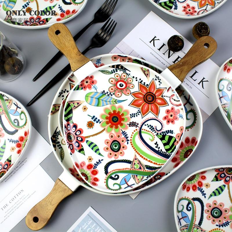 Plat de service créatif avec manche en bois assiettes de cuisine plat en céramique pour nouilles plateau en céramique avec motif de fleurs