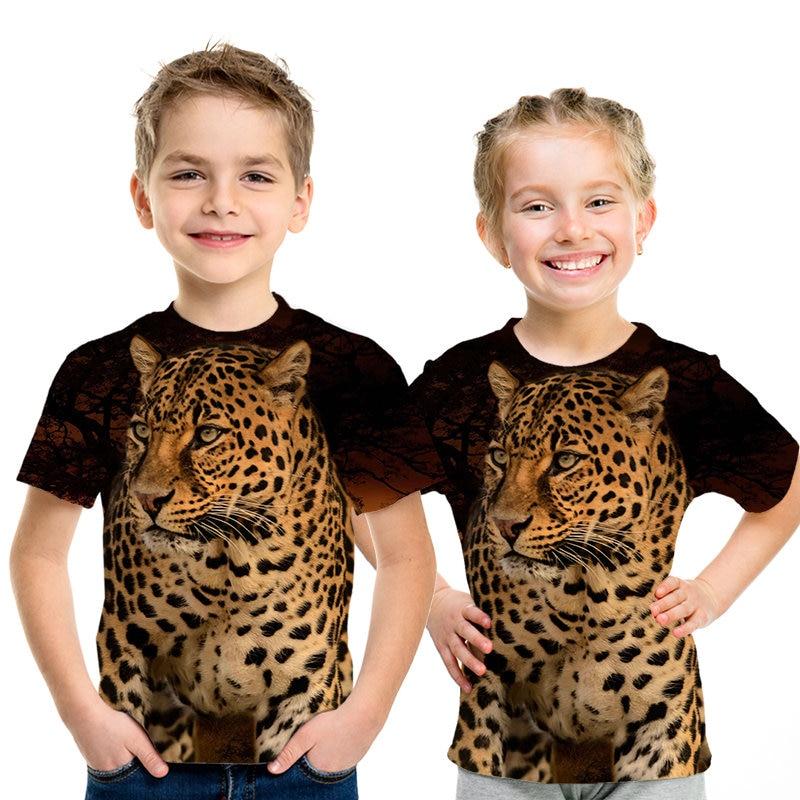 Leopard Kid/'s T-Shirt Children Boys Girls Big Cat Unisex Top