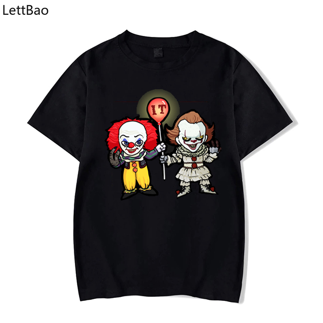<font><b>Pennywise</b></font> Black <font><b>Tshirt</b></font> Men Summer Hipster Men Tops Plus Size 100% Cotton High Quality Tees image