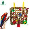 Bird Climbing Net Parrot Toys Woven Seagrass Biting Hanging Hemp Rope Swing Play Ladder Chew Foraging Colorful Funny Parrot Toys 1