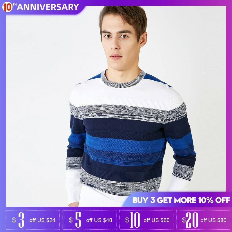SELECTED Mens Cotton Assorted Colors Round Neckline Long-sleeved Pullover Sweater | 419124543