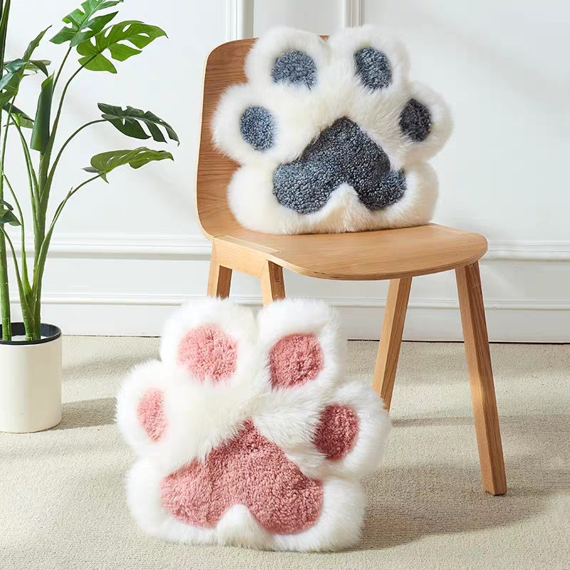Single Side Cute Sheepskin Fur  Cat's Claw Shaped Pillow , Decoration Merino  Fur  Pink Seat Cushion