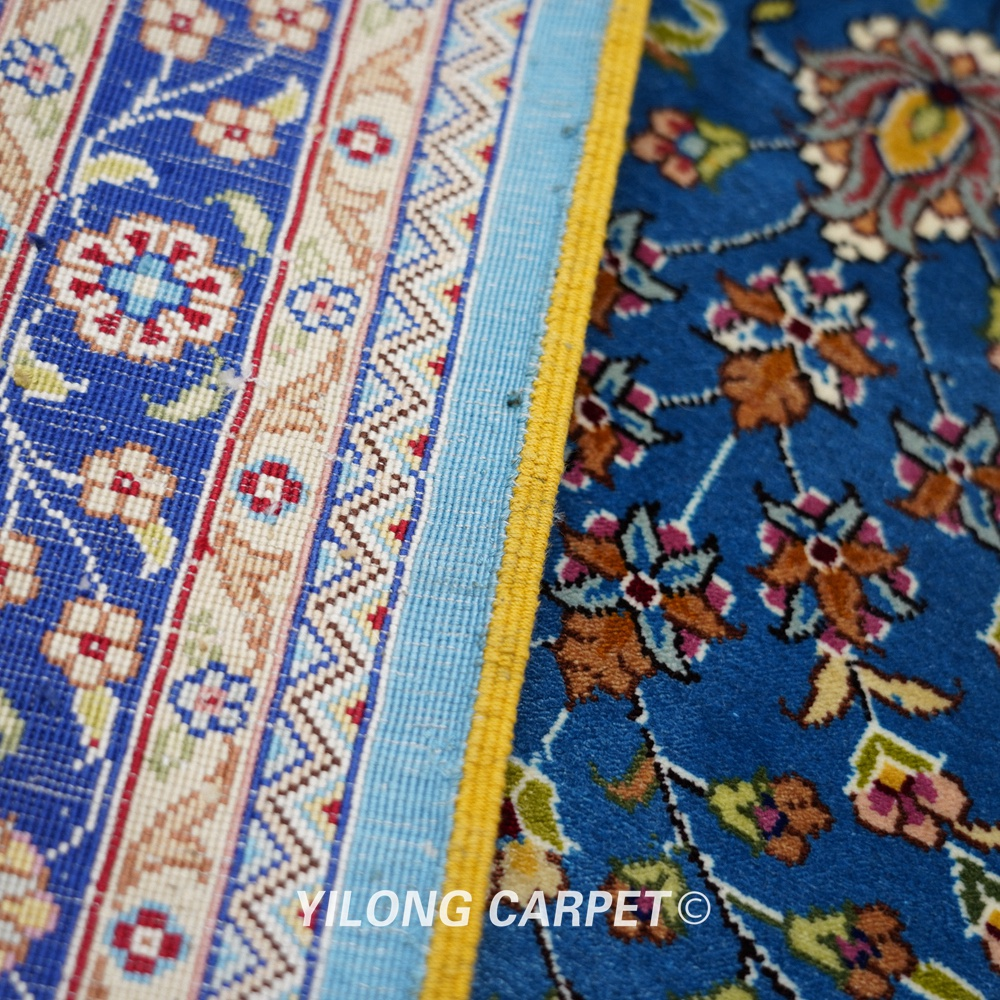 Yilong 6'x9 'Vantage əl düyünlü mavi qonaq otağı xalça ipək - Ev tekstil - Fotoqrafiya 6