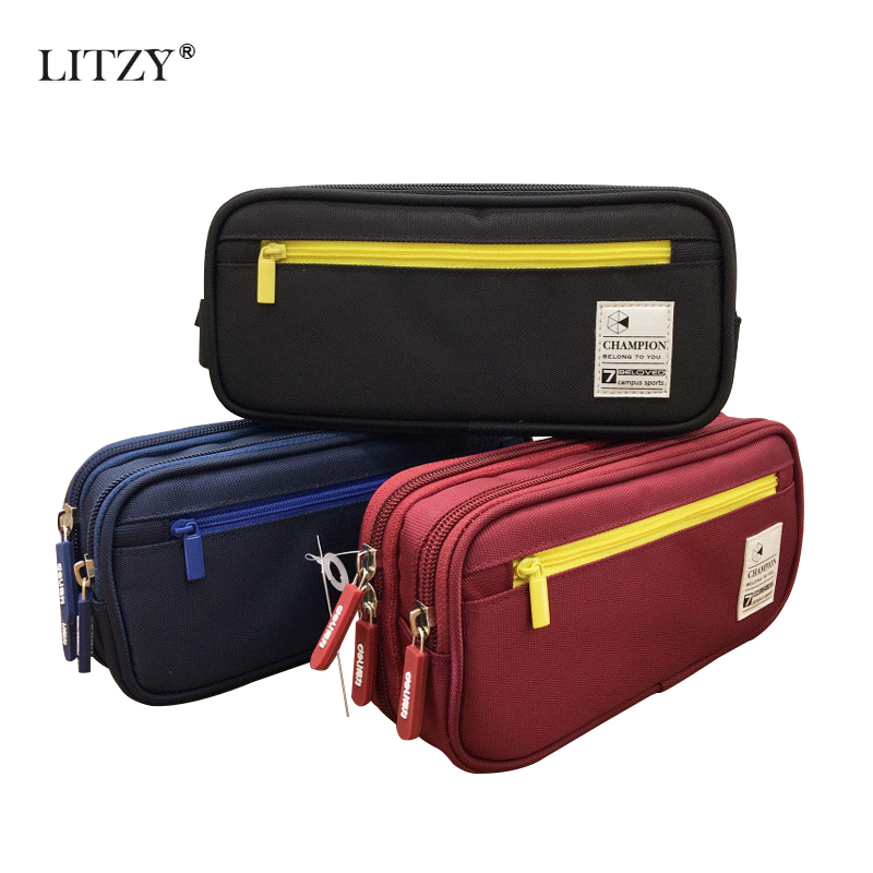 Solid Color Creative Pencil Case Twill Canvas Large Pen Box Kawaii Pencil Bag Student Girl Boy Cute School Stationery Supplies
