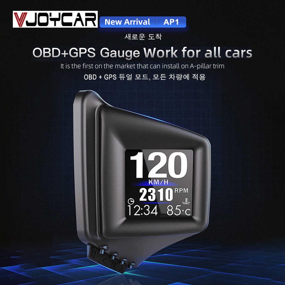 Trung Quốc Mới HUD Tiện Ích OBD2 + GPS HUD Trên Tàu Máy Tính Một Trụ Cột Viền Lắp Đặt RPM Turbo Áp Suất tinh Dầu & Nhiệt Độ Nước. Định Vị GPS Đồng Hồ Tốc Độ