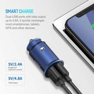 Image 3 - Chargeur de voiture universel en alliage de Zinc de haute qualité de chargeur de voiture en métal dusb de la roche 4.8A double pour des téléphones portables