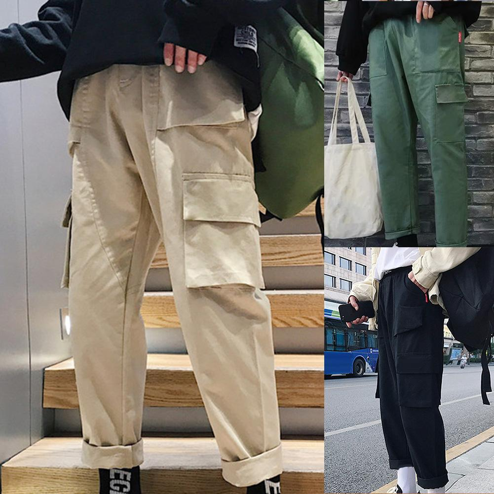 Vintage Men Solid Color Multi Pockets Long Sports Trousers Straight Cargo Pants Hot