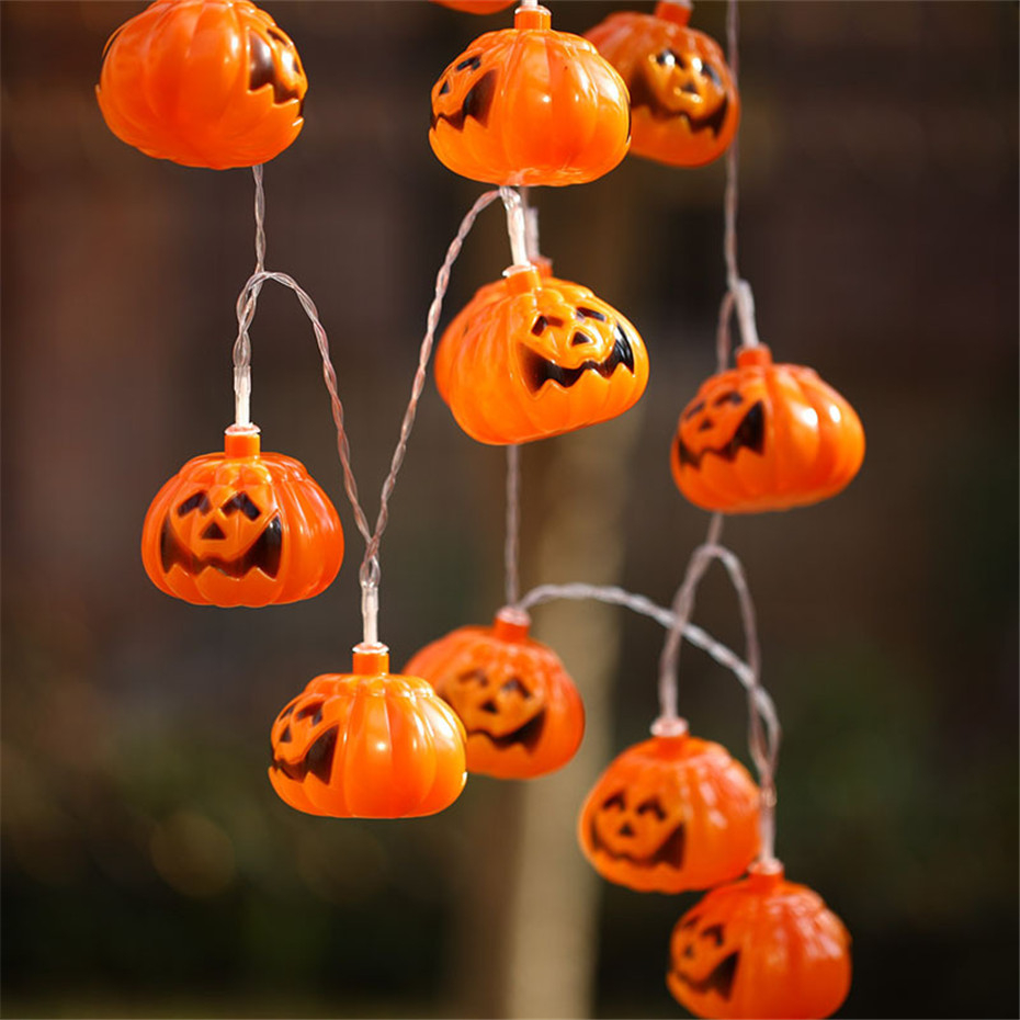 LED Latest Halloween Pumpkin Garland Lights Battery USB Power Indoor Room Party Decoration Fairy Tale Light