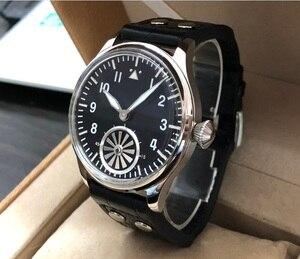 Image 2 - 44mm kein logo Schwarz zifferblatt turbine zweite hand Asiatischen 6498 Mechanische bewegung herren uhr GR16 20