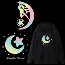 Sailor Moon Patches Colorful Reflective Rainbow Heat Transfers Vinyl Sticker Iron-on thermal transfer Press For Clothes T-Shirt
