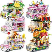 City Street View Ice Cream Truck Sushi Shop carrello da frutta carrello da Dessert Building Blocks amici creatore mattone regalo ducational giocattolo