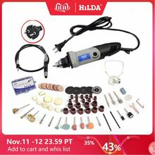 HILDA 400 واط مثقاب كهربائي صغير ل دريمل أدوات دوارة متغير السرعة ماكينة طحن أدوات مع النقش اكسسوارات مثقاب صغير