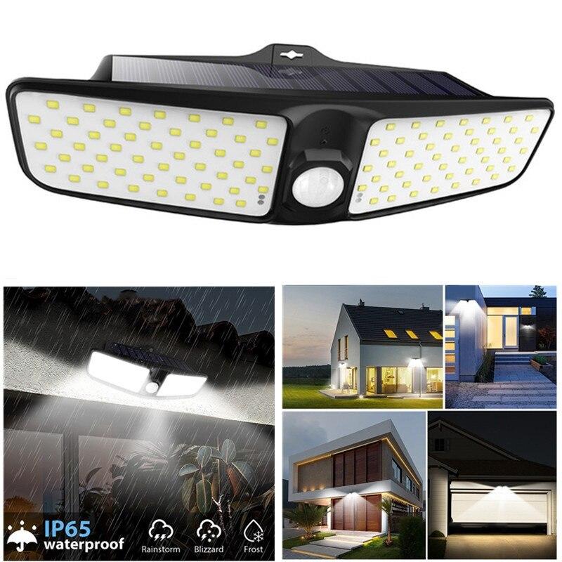 Luzes solares ao ar livre sensor de movimento luzes de segurança wall mounted recarregável luzes inundação movido a energia solar 100 pces luzes led