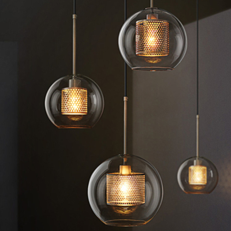 Japan Hanglamp Industrial Lamp Glass Ball Bedroom LED  Pendant Lights  Living Room  Luminaire Hanging Ceiling Lamps