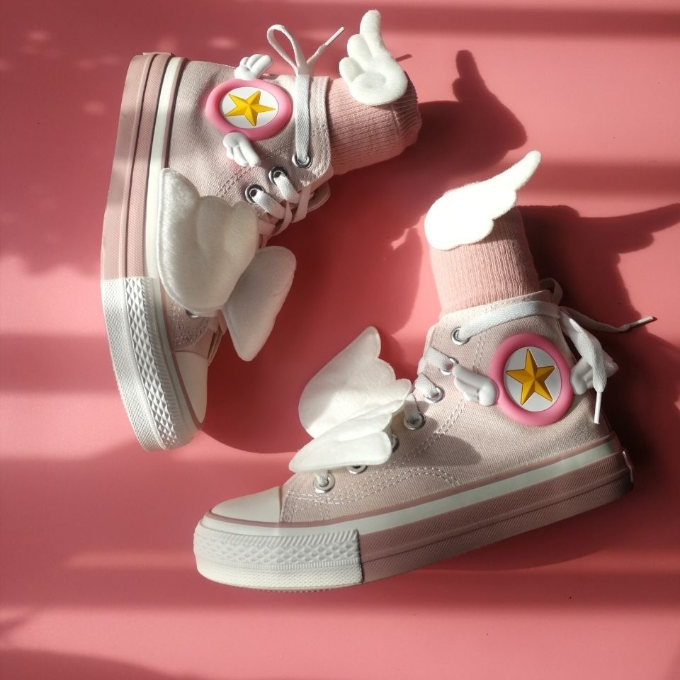 Anime Cosplay Shoes Cardcaptor Sakura Shoes High Help Shoes Women Pink Lovers KINOMOTO SAKURA Girl Sneakers