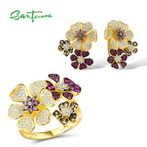 SANTUZZA 925 Silver Jewelry Set For Women Pure 925 Sterling Silver Butterfly Colorful Shiny Created Ruby White CZ Fine Jewelry