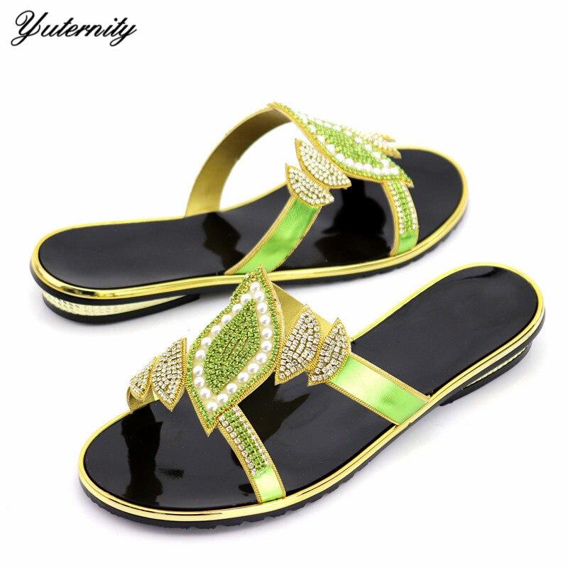 Yuterity offre spéciale chaussures de soirée élégantes Style italien strass dames chaussures d'été chaussures de plage pour robe de soirée taille 37-43
