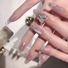 24 stücke gefälschte nägel Design mit schmetterling dekoration tragen nagel fertig acryl nagel oval kopf Mid-länge größe produkte nail art