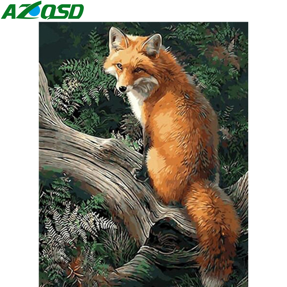 AZQSD Paint By Number Canvas Painting Kits Fox 40X50cm No Frame DIY Acrylic Paint Coloring By Numbers Animal Decoration