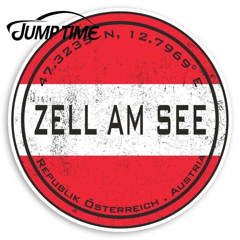 Jump Time Zell Am See Austria Vinyl Stickers - Flag Travel Sticker Luggage Window Bumper Decal Waterproof Car Accessories