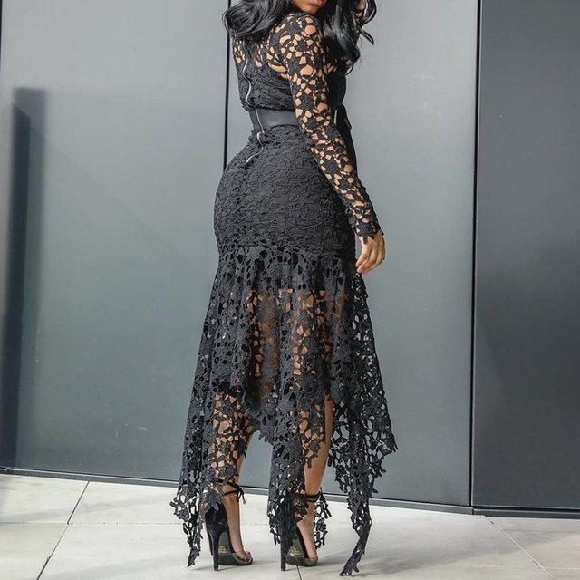 Elegant Vintage Party Sexy Black Lace Long Dress Plus Big Size Large M-3XL Women Mesh Hollow Bodycon White Maxi Dress Ladies 2
