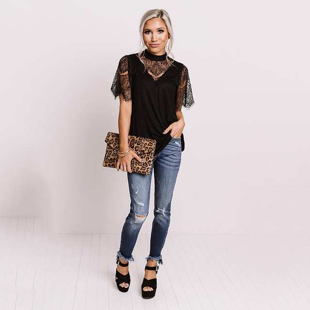 LIVA GIRL Casual Black Breaking News Lace Top Woman 2021 Summer Solid Short Sleeve Tops Female Sexy Hollow Out O-neck Clothes 6