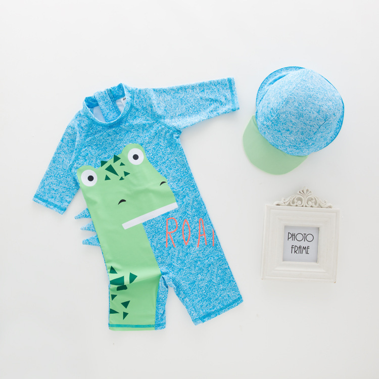 Men's One-piece Swimming Suit Blue Dinosaur-KID'S Swimwear Hot Springs Clothing