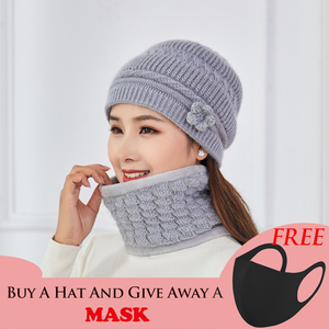 Balaclava Women Knitted Hat Scarf Cap Neck Warmer Winter Hat Windproof For Ladies mom Vintage Skullies Beanies Warm Fleece Caps