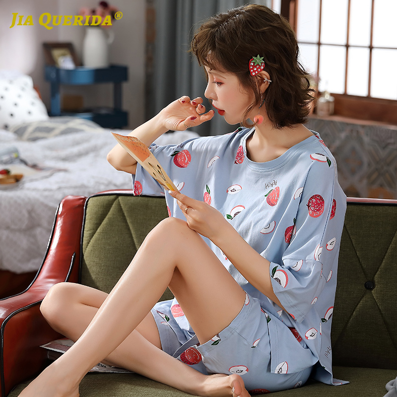 Summer Woman Crew Neck Printing Pajamas Set Homesuit Homeclothes Sleepwear Casual Style Short Sleeve Short Pants Fashion Style