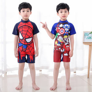 Boys One-piece Swimwear Short-sleeved UV Protection Swimwear spiderman Swimsuit Cartoon Children's Quick Dry One-piece Swimwear