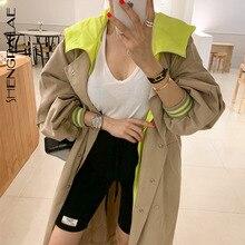 SHENGPALAE 2019 Autumn New Hooded Trench Coat Korean Plus Size Khaki Long Coat F