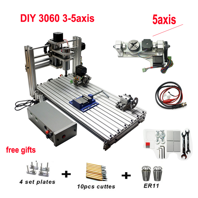 DIY CNC 3060 Engraving Machine 400W Wood Milling Router 6030 Ball Screw Cutting Engraver Lathe Frame 3 4 5 Axis