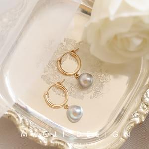 Image 3 - UM par 14 K gold filled brinco ganchos 15mm/19mm/22mm/29mm/ 35 dois milímetros de ouro cheias Brincos Clipe para brinco DIY fazendo descobertas jóias