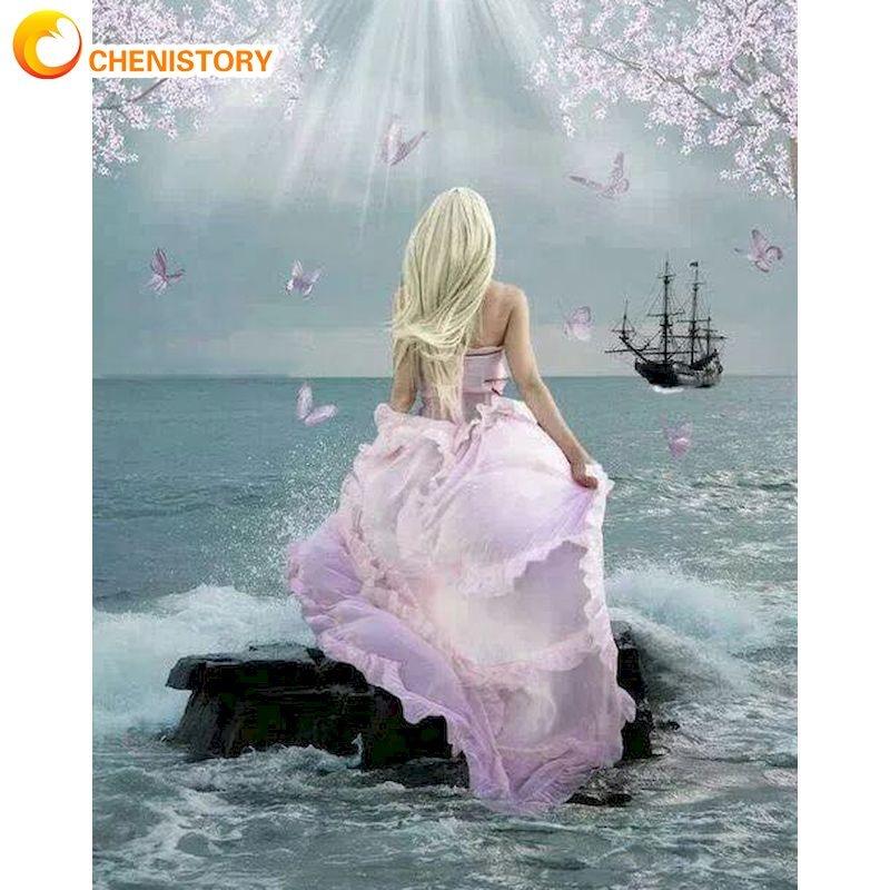 Купить chenistory розовое платье фигурка девушки искусство картина