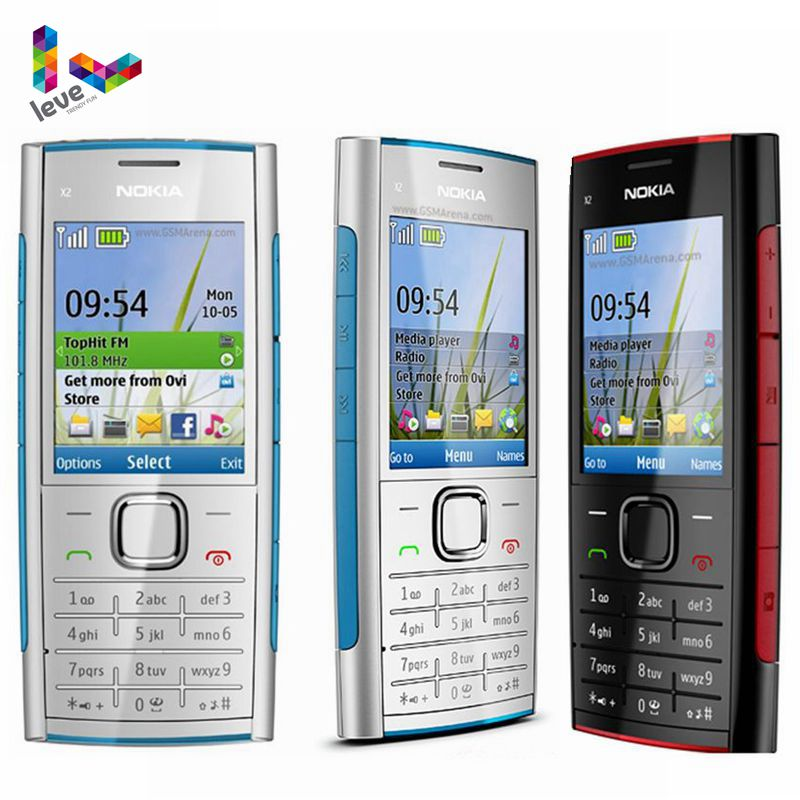 Nokia X2-00 MP3 MP4 Jogador FM Bluetooth Do Telefone Móvel Nokia Original X2 Apoio Teclado Russo Celular Desbloqueado Barato