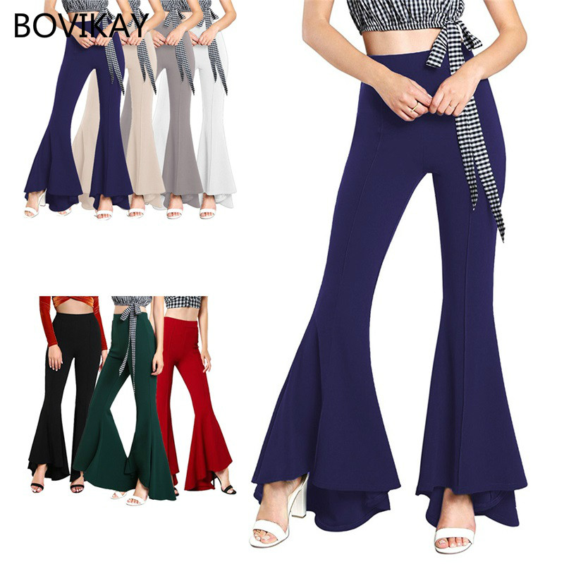 2019 Spring New Womens Elastic High Waist Fashion Trumpet Pants Office Lady Bell Bottom Streetwear Flare Pants