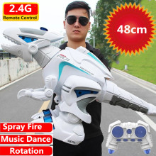 48CM Large Size Remote Control Robot RC Dinosaur Toy Can High Simulation Spray Fire Walking Dancing Singing Flash Lights Gifts