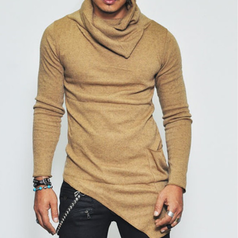 2019 Autumn Warm Sweater Men Fashion Solid Slim Fit Turtleneck Sweater Male Casual Irregular Streetwear Pullover Tops Plus Size