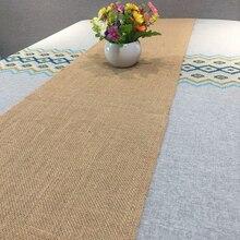 Arpillera de lino de Yute Natural Vintage camino de mesa de Año Nuevo Crochet para boda 275cm x 30cm decoraciones de Navidad para comedor o fiesta
