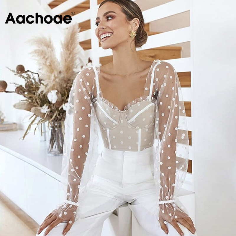 Fashion Long Sleeve Patchwork Mesh Women Blouse Sexy Polka Dot Transparent Ladies Crop Top Vintage Ruffle Short Shirt Tops