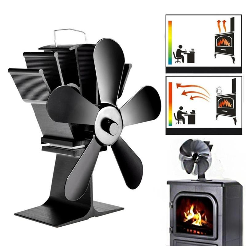 5 Blades Fireplace Fan Wood Burner Cooking Stove Thermal Heat Power Fan Support Dropshipping