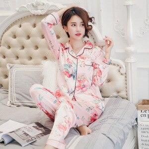 Image 3 - ซาตินผ้าไหมชุดนอนชุดสตรีชุดนอนปุ่มPigiama Donna PjsฤดูหนาวMujer PijamaชุดนอนชุดนอนPizama Damska 2pcs