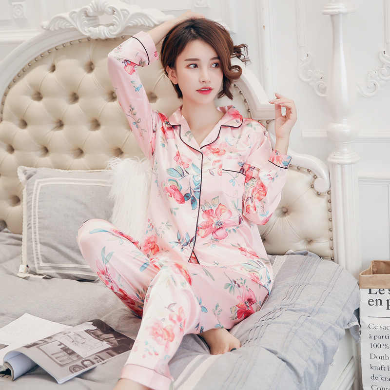 Pijamas de seda de cetim para conjunto de pijamas femininos botão pijamas donna pjs inverno mujer pijamas pijamas pijamas pijamas pizama damska 2 peças