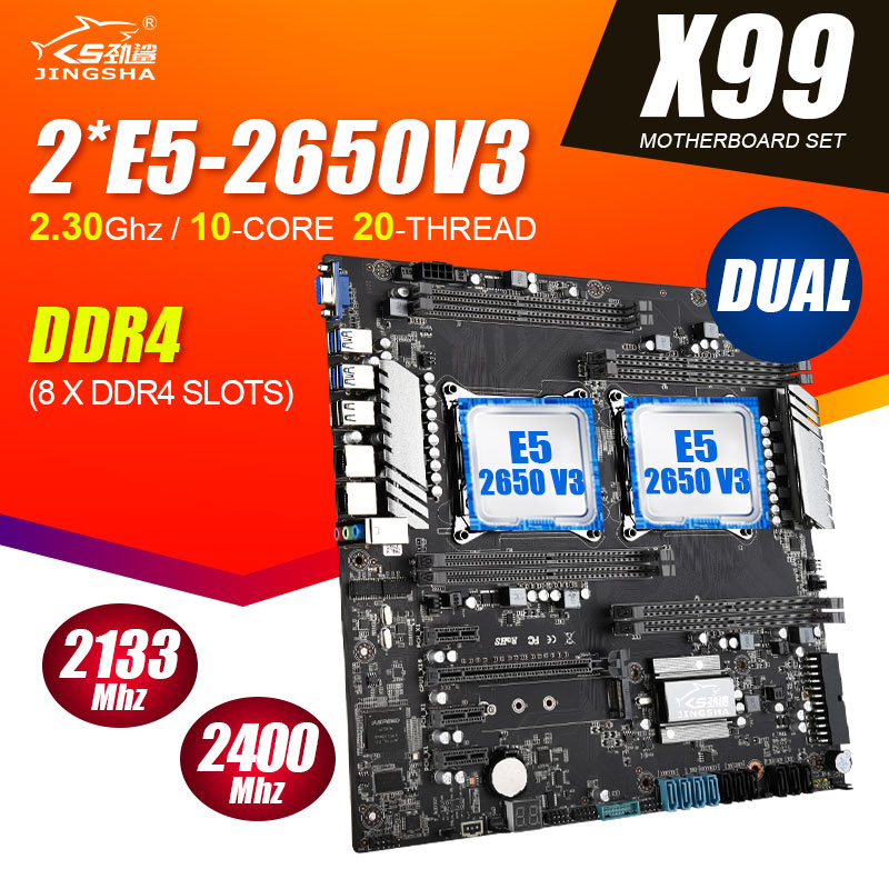 Jingsha X99 dual CPU motherboard with Xeon E5 2650 V3 2pcs 10 cores processors support 8-channel max 2400mhz RAM
