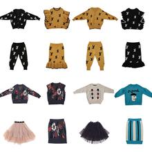 Limt marka 2020 nowa jesienno-zimowa dzieci swetry dla chłopców dziewcząt słodkie druku dziergany sweter dziecko dziecko moda bawełna znosić ubrać tanie tanio syue moon COTTON W stylu Preppy Drukuj REGULAR V-neck Unisex Pełna PATTERN Pasuje prawda na wymiar weź swój normalny rozmiar