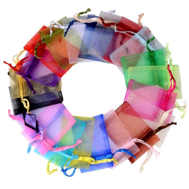 10/50/100 шт. 7x9 см из органзы мешки для упаковки ювелирных изделий, сумки Свадебная вечеринка украшения холст мешки подарка