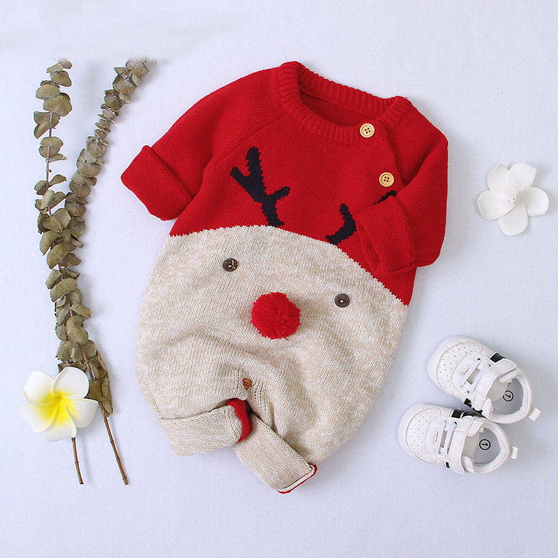 2020 Autumn Winter Newborn Baby Clothes Christmas Sweater Rompers Baby Girls Boys Overalls Infant Costume Kids Toddler Jumpsuit 2